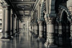 Columns inside room in black and white Royalty Free Stock Photo