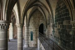 Columns inside Saint Michel Abbey - the main medieval landmark of British Frantsii royalty free stock photos