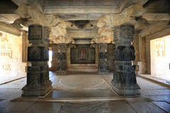 Columns inside the very old hindu temple Royalty Free Stock Photography
