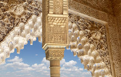 Columns in Islamic (Moorish)  style in Alhambra, Granada, Spain.  Royalty Free Stock Photo