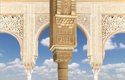 Columns in Islamic (Moorish)  style in Alhambra, Granada, Spain Royalty Free Stock Photo