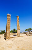 Columns in Kamiros ruins in vertical view Royalty Free Stock Photos