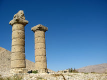 Columns of Karakus Tumulus in Turkey. Ancient ruins of columns Karakus Tumulus in Turkey with bkue sky Stock Images