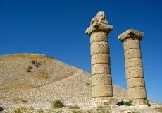 Columns of Karakus Tumulus in Turkey. Ancient ruins of columns Karakus Tumulus in Turkey with bkue sky Royalty Free Stock Photos