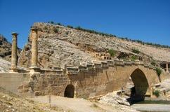 Columns of Karakus Tumulus in Turkey. Ancient ruins of columns Karakus Tumulus in Turkey, old bridge Royalty Free Stock Images