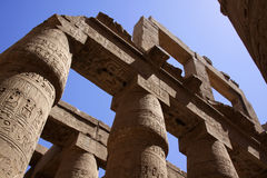 Columns in Karnak egypt. Columns in the temple of Karnak (Luxor) in egypt. They simulate closed papyrus plants Stock Photos