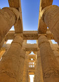 Columns at Karnak temple. Columns in the hypostyle hall of Karnak temple Royalty Free Stock Images