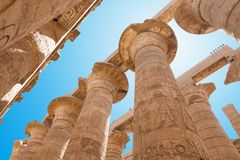 Columns in karnak temple. Low Angle View Of Columns In Karnak Temple, Luxor, Egypt stock image