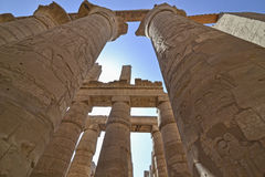 Columns at Karnak temple in Luxor. Large columns in the famous hypostyle hall at Karnak temple Luxor royalty free stock images