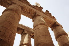 Columns at Karnak Temple. View of columns at the Karnak Temple in Luxor, Egypt Stock Photos