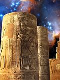 Columns of the Kom-Ombo Temple and Small Magellanic Cloud (Eleme Stock Image