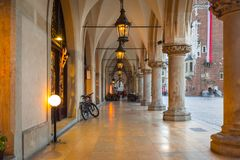 Columns of the Krakow Cloth Hall at the Main Square Royalty Free Stock Photo