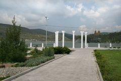 Columns on the lake promenade in Abrau-Dyurso Royalty Free Stock Image