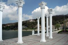 Columns on the lake promenade in Abrau-Dyurso Stock Image