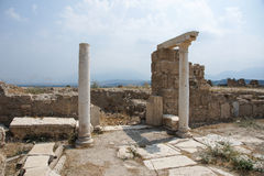 Columns at Laodicea on the Lycus, Turkey. Part of a residential building with columns in archaic Laodikeia city at the Denizli Province, Laodicea on the Lycus Royalty Free Stock Images