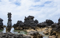 Columns of limestone rocks Stock Image