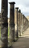 Columns, lined up in the ancient Roman city of Pompeii, near Naples. stock image
