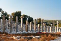 Columns on Main street in ancient Lycian city Patara. Turkey Stock Images