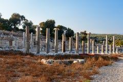 Columns on Main street in ancient Lycian city Patara. Turkey Royalty Free Stock Photography