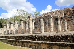 Columns Mayan Chichen Itza Mexico ruins in rows Royalty Free Stock Images