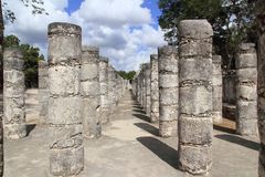 Columns Mayan Chichen Itza Mexico ruins in rows Stock Image