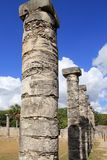 Columns Mayan Chichen Itza Mexico ruins in rows Royalty Free Stock Image