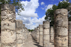 Columns Mayan Chichen Itza Mexico ruins in rows Stock Photography