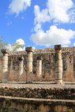 Columns Mayan Chichen Itza Mexico ruins in rows Royalty Free Stock Photo