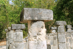 Columns Mayan Chichen Itza Mexico ruins in rows Royalty Free Stock Photos