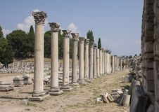 Columns in the Mercantile Agora, Ephesus Royalty Free Stock Photo
