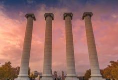Columns in Montjuic, Barcelona. View of columns in Montjuic in Barcelona, Spain Royalty Free Stock Image