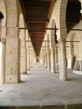 Columns of mosque. Part of Great Mosque of Kairouan (Tunisia stock image