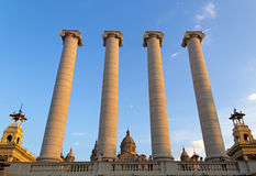 Columns and National Museum of Catalonia, Mointjuic Stock Photos