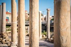 Columns next to Ayia Kyriaki Chrysopolitissa church in Paphos, C Royalty Free Stock Photo