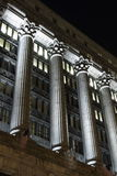 Columns at night. Image of greek style columns at night. Image lite by halogen flood lights from building. City Hall in Chicago royalty free stock photo