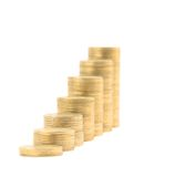 Columns Of Golden Coins Isolated Royalty Free Stock Photos