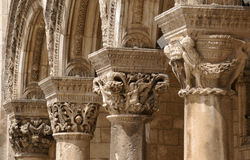 Columns in old building. Coumns' cap in old building in historical medieval town of dubrovnik, unesco heritage site in croatia, balkans, europe royalty free stock photos