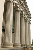 Columns of old court house. Columns of old country court house seen from an angle Royalty Free Stock Image