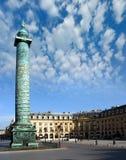 Columns of Paris. Square green column in Paris Stock Photo