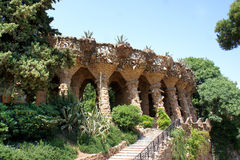 Columns in Park Guell, Barcelona, Spain. Famous Park Guell in Barcelona, Spain Stock Images