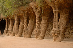 Columns in Park Guell in Barcelona Spain Stock Image