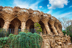 Columns in Park Guell designed by Antoni Gaudi in Barcelona, Spain Stock Images