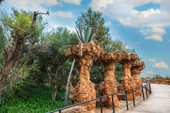 Columns in Park Guell designed by Antoni Gaudi in Barcelona, Spain. Columns among the trees made of stone in Park Guell designed by Antoni Gaudi in Barcelona royalty free stock photos