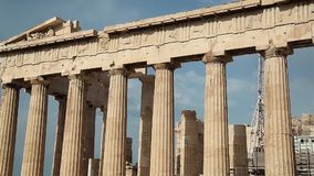 Columns of Parthenon - antique temple in Athenian Acropolis in Greece stock video