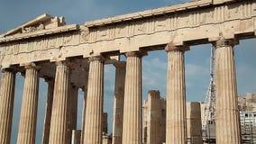 Columns of Parthenon - antique temple in Athenian Acropolis in Greece stock video