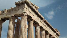 Columns of Parthenon - antique temple in Athenian Acropolis in Greece stock video footage