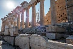 Columns of Parthenon in Athens Stock Photo