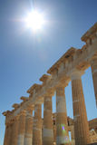 Columns of Parthenon. Under the Sunlight, Athens, Greece stock photos