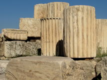 Columns. Parts of columns and other pieces of the Parthenon Royalty Free Stock Photos