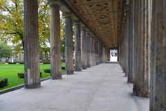 Columns path. Long pathway between columns in a historic building. Berlin, Germany Royalty Free Stock Photo